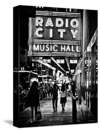 Urban Scene, Radio City Music Hall by Night, Manhattan, Times Square, New York, Classic-Philippe Hugonnard-Stretched Canvas Print