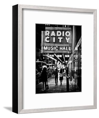 Urban Scene, Radio City Music Hall by Night, Manhattan, Times Square, New York, Classic-Philippe Hugonnard-Framed Photographic Print