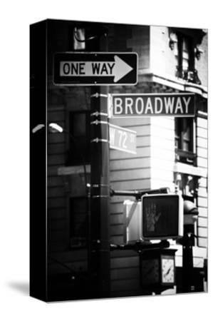 Urban Sign, Broadway, Manhattan, New York, White Frame, Old Black and White Photography-Philippe Hugonnard-Stretched Canvas Print