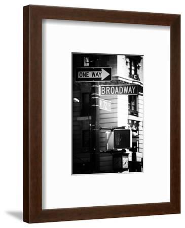 Urban Sign, Broadway, Manhattan, New York, White Frame, Old Black and White Photography-Philippe Hugonnard-Framed Photographic Print