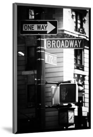 Urban Sign, Broadway, Manhattan, New York, White Frame, Old Black and White Photography-Philippe Hugonnard-Mounted Photographic Print