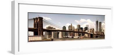 Vintage Panoramic, Skyline of NYC, Manhattan and Brooklyn Bridge, One World Trade Center, US-Philippe Hugonnard-Framed Photographic Print