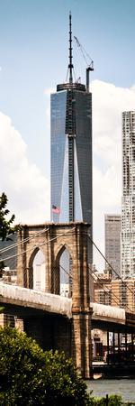 Brooklyn Bridge View and One World Trade Center, Modern Sepia, Manhattan, NYC-Philippe Hugonnard-Framed Photographic Print