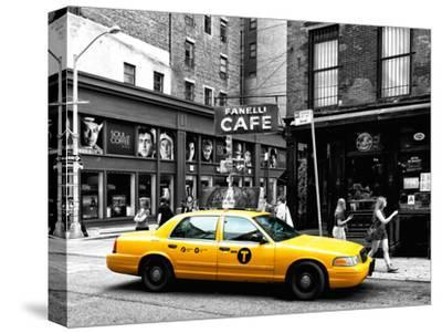 Urban Scene, Yellow Taxi, Prince Street, Lower Manhattan, NYC, Black and White Photography Colors-Philippe Hugonnard-Stretched Canvas Print