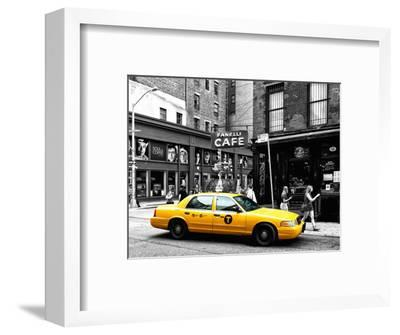 Urban Scene, Yellow Taxi, Prince Street, Lower Manhattan, NYC, Black and White Photography Colors-Philippe Hugonnard-Framed Premium Photographic Print