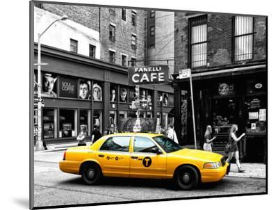 Urban Scene, Yellow Taxi, Prince Street, Lower Manhattan, NYC, Black and White Photography Colors-Philippe Hugonnard-Mounted Premium Photographic Print