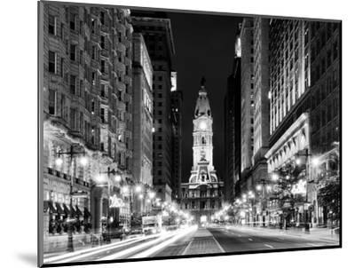 City Hall and Avenue of the Arts by Night, Philadelphia, Pennsylvania, US-Philippe Hugonnard-Mounted Photographic Print