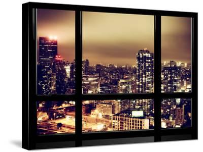 Window View, Urban Landscape by Night, Misty View, New Yorker Hotel View, Midtown Manhattan, NYC-Philippe Hugonnard-Stretched Canvas Print