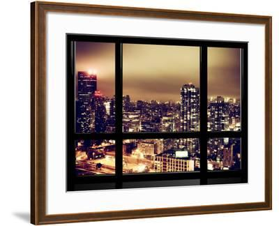Window View, Urban Landscape by Night, Misty View, New Yorker Hotel View, Midtown Manhattan, NYC-Philippe Hugonnard-Framed Photographic Print