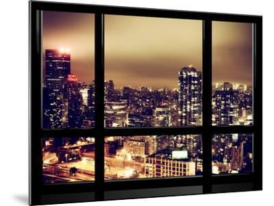 Window View, Urban Landscape by Night, Misty View, New Yorker Hotel View, Midtown Manhattan, NYC-Philippe Hugonnard-Mounted Photographic Print