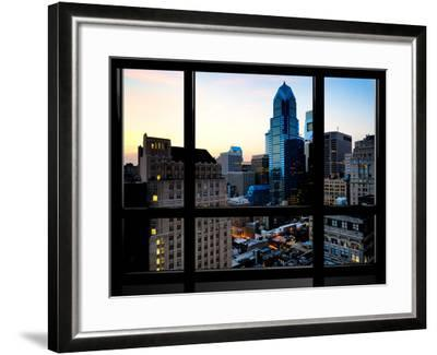 Window View, Special Series, Skyscrapers View at Nightfall, Philadelphia, Pennsylvania, USA-Philippe Hugonnard-Framed Photographic Print