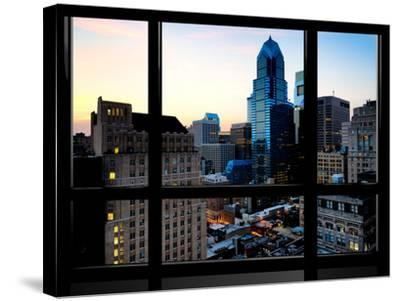 Window View, Special Series, Skyscrapers View at Nightfall, Philadelphia, Pennsylvania, USA-Philippe Hugonnard-Stretched Canvas Print