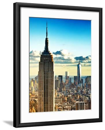 Sunset Landscape of the Empire State Building and One World Trade Center, Manhattan, NYC, Colors-Philippe Hugonnard-Framed Photographic Print