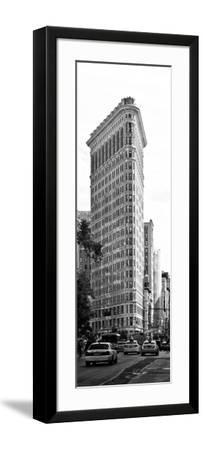 Vertical Panoramic of Flatiron Building and 5th Ave, Black and White Photography, Manhattan, NYC-Philippe Hugonnard-Framed Photographic Print