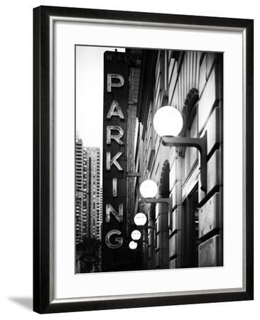 Garage Parking Sign, W 43St, Times Square, Manhattan, New York, US, Black and White Photography-Philippe Hugonnard-Framed Photographic Print