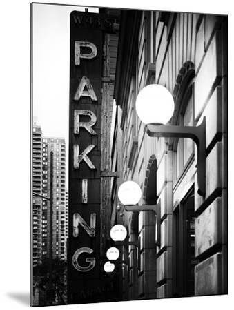Garage Parking Sign, W 43St, Times Square, Manhattan, New York, US, Black and White Photography-Philippe Hugonnard-Mounted Photographic Print