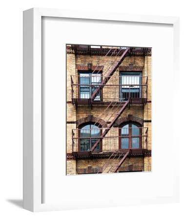 Fire Escape, Stairway on Manhattan Building, New York, US, White Frame, Full Size Photography-Philippe Hugonnard-Framed Photographic Print