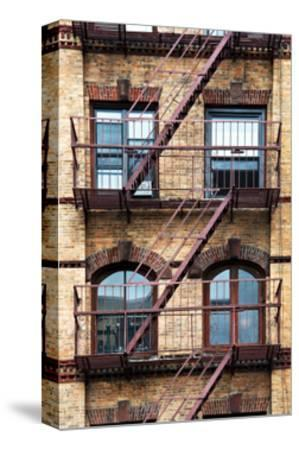 Fire Escape, Stairway on Manhattan Building, New York, US, White Frame, Full Size Photography-Philippe Hugonnard-Stretched Canvas Print