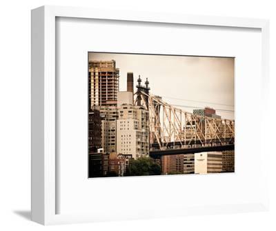 Ed Koch Queensboro Bridge, Roosevelt Island Tram Station, Manhattan, New York, Vintage-Philippe Hugonnard-Framed Photographic Print