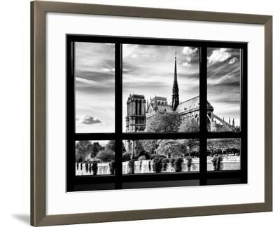 Window View, Special Series, Notre Dame Cathedral View, Paris, Europe, Black and White Photography-Philippe Hugonnard-Framed Photographic Print