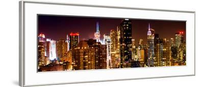 Panoramic View of Skyscrapers of Times Square and 42nd Street at Night-Philippe Hugonnard-Framed Photographic Print