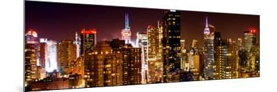 Panoramic View of Skyscrapers of Times Square and 42nd Street at Night-Philippe Hugonnard-Mounted Photographic Print