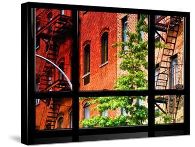 Window View, Special Series, Buildings, Stairs, Emergency, New York, United States-Philippe Hugonnard-Stretched Canvas Print