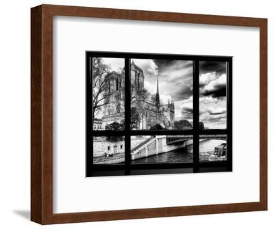 Window View, Special Series, Notre Dame Cathedral, Seine River, Paris, Black and White Photography-Philippe Hugonnard-Framed Photographic Print