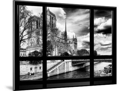 Window View, Special Series, Notre Dame Cathedral, Seine River, Paris, Black and White Photography-Philippe Hugonnard-Mounted Photographic Print