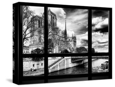 Window View, Special Series, Notre Dame Cathedral, Seine River, Paris, Black and White Photography-Philippe Hugonnard-Stretched Canvas Print