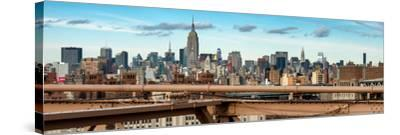 Panoramic Cityscape - View of Brooklyn Bridge with the Empire State Buildings-Philippe Hugonnard-Stretched Canvas Print