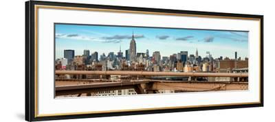 Panoramic Cityscape - View of Brooklyn Bridge with the Empire State Buildings-Philippe Hugonnard-Framed Photographic Print