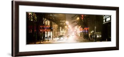 Street Scenes and Urban Night Panoramic Landscape in Winter under the Snow-Philippe Hugonnard-Framed Photographic Print