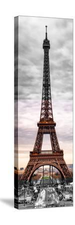 Eiffel Tower, Paris, France - Black and White and Spot Color Photography-Philippe Hugonnard-Stretched Canvas Print