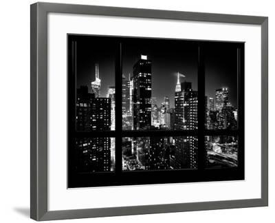 Times Square and 42nd Street with the Empire State Building by Night - Manhattan, New York, USA-Philippe Hugonnard-Framed Photographic Print