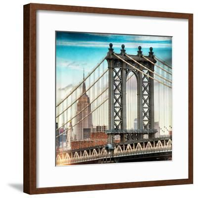 Instants of NY Series - Manhattan Bridge with the Empire State Building from Brooklyn Bridge-Philippe Hugonnard-Framed Photographic Print