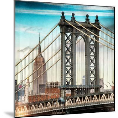 Instants of NY Series - Manhattan Bridge with the Empire State Building from Brooklyn Bridge-Philippe Hugonnard-Mounted Photographic Print