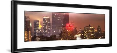 Panoramic Landscape Foggy Night in Manhattan with the New Yorker Hotel View-Philippe Hugonnard-Framed Photographic Print