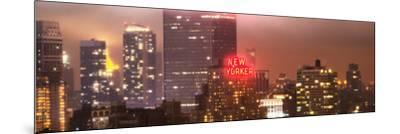 Panoramic Landscape Foggy Night in Manhattan with the New Yorker Hotel View-Philippe Hugonnard-Mounted Photographic Print