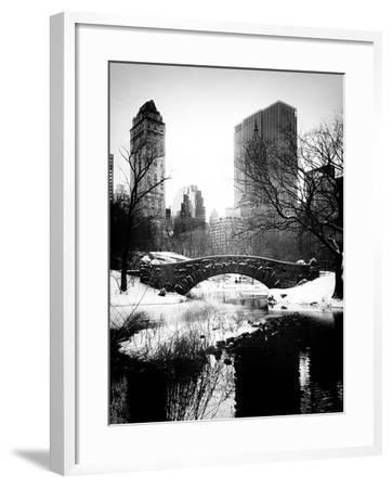 Snowy Gapstow Bridge of Central Park, Manhattan in New York City-Philippe Hugonnard-Framed Photographic Print