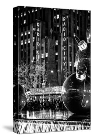 The Giant Christmas Ornaments on Sixth Avenue across from the Radio City Music Hall by Night-Philippe Hugonnard-Stretched Canvas Print