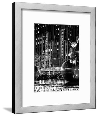 The Giant Christmas Ornaments on Sixth Avenue across from the Radio City Music Hall by Night-Philippe Hugonnard-Framed Photographic Print