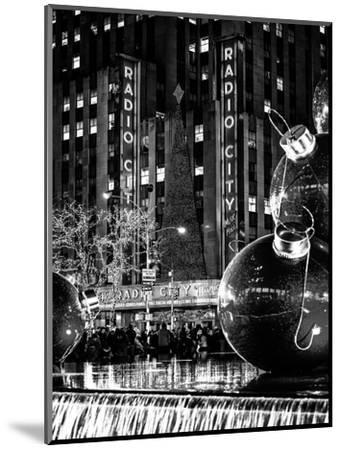 The Giant Christmas Ornaments on Sixth Avenue across from the Radio City Music Hall by Night-Philippe Hugonnard-Mounted Photographic Print