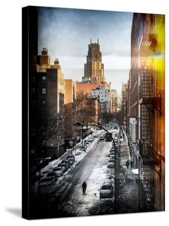 Instants of NY Series - Urban Snowy Winter Landscape-Philippe Hugonnard-Stretched Canvas Print