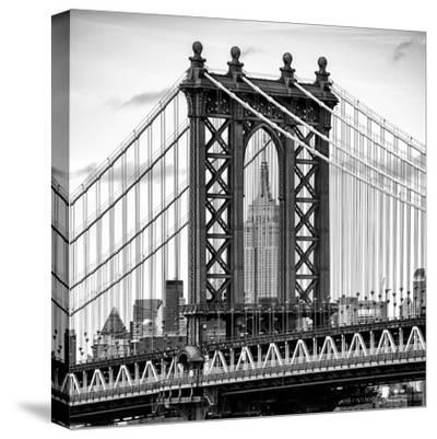 Manhattan Bridge with the Empire State Building Center from Brooklyn Bridge-Philippe Hugonnard-Stretched Canvas Print