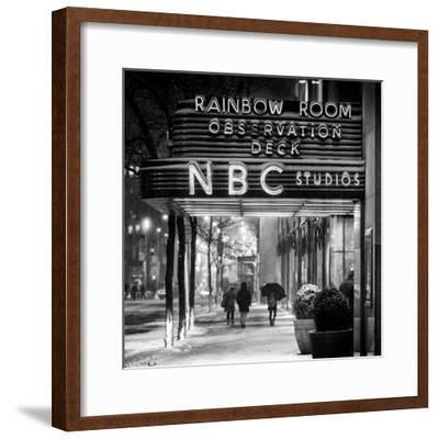 The NBC Studios in the New York City in the Snow at Night-Philippe Hugonnard-Framed Photographic Print
