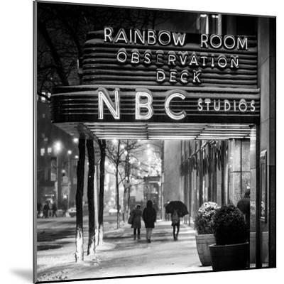 The NBC Studios in the New York City in the Snow at Night-Philippe Hugonnard-Mounted Photographic Print