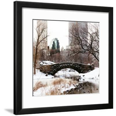 Snowy Gapstow Bridge of Central Park, Manhattan in New York City-Philippe Hugonnard-Framed Photographic Print