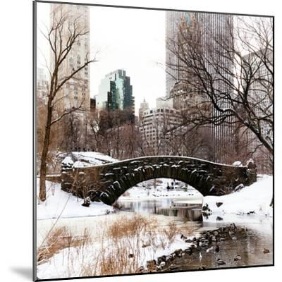 Snowy Gapstow Bridge of Central Park, Manhattan in New York City-Philippe Hugonnard-Mounted Photographic Print