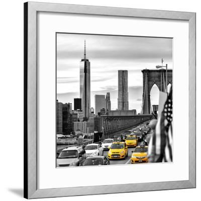 Yellow Taxi on Brooklyn Bridge Overlooking the One World Trade Center (1WTC)-Philippe Hugonnard-Framed Premium Photographic Print